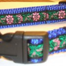 S: Blue Nylon collar- Black & Pink Tapestry