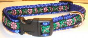 S: Blue Nylon collar- Black & Pink Tapestry