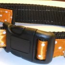 L-XL: Black nylon collar- Orange with white polka dots