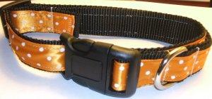L-XL: Black nylon collar- Orange with white polka dots