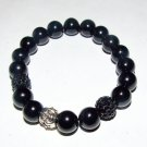 Black Onyx Stretch Bracelet W/ Buddha 7.50""