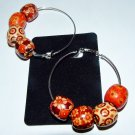Wooden Hand Painted Drum Bead Silver Plated Earrings 60 MM