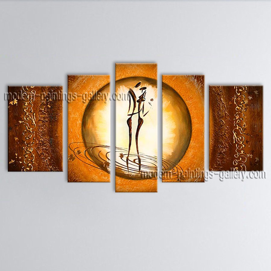 5 Pieces Modern Abstract Painting Wall Art Figure On Canvas Artworks