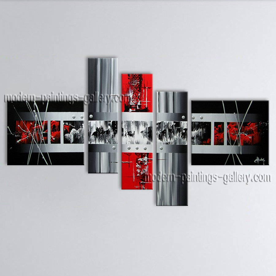 Hand-painted 5 Pieces Modern Abstract Painting Wall Art Interior Design