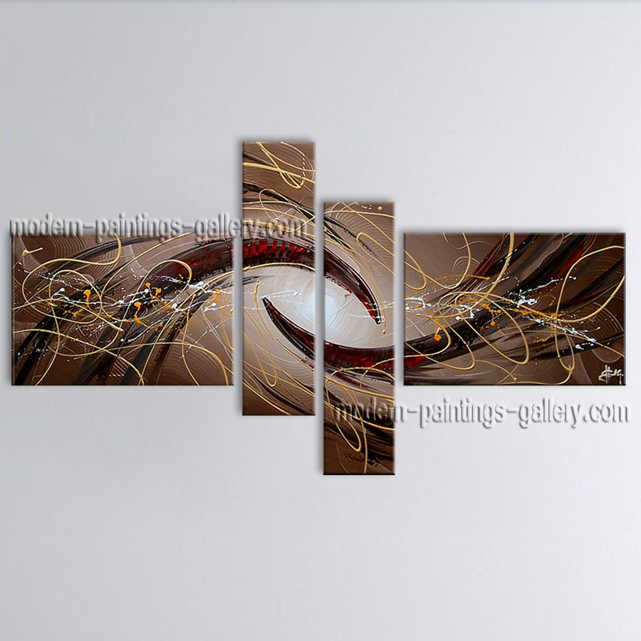 Hand-painted Tetraptych Modern Abstract Painting Wall Art Artwork Images