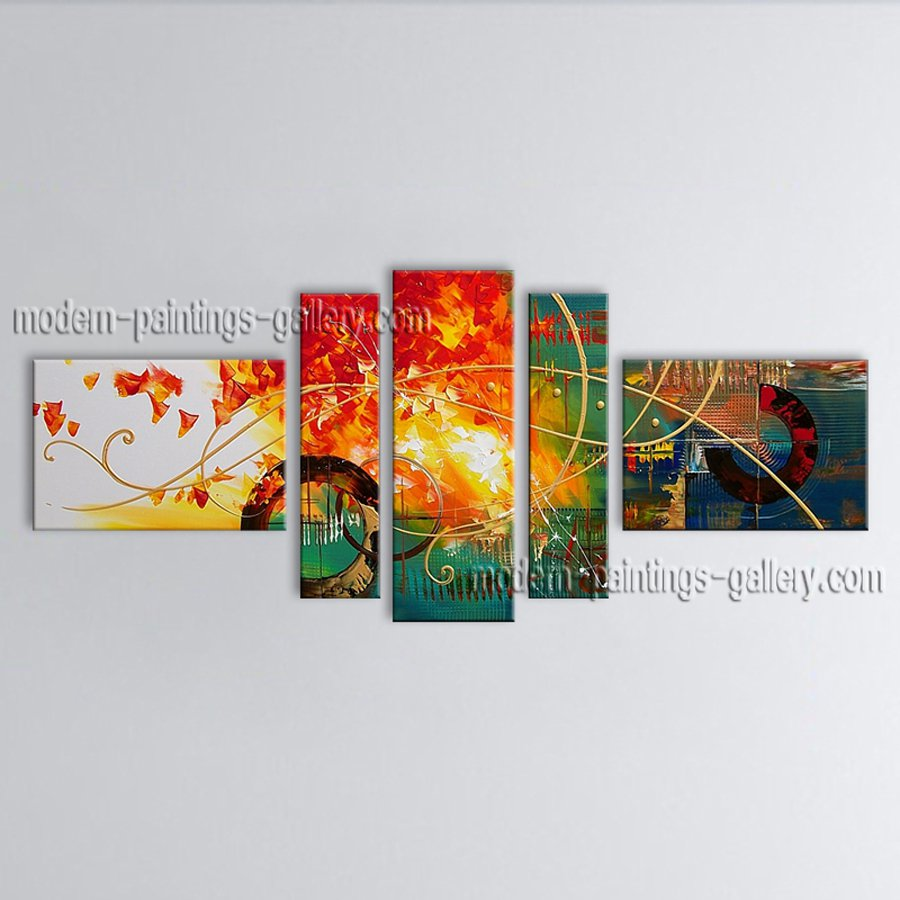 Hand Painted Pentaptych Modern Abstract Painting Wall Art Inner Stretched