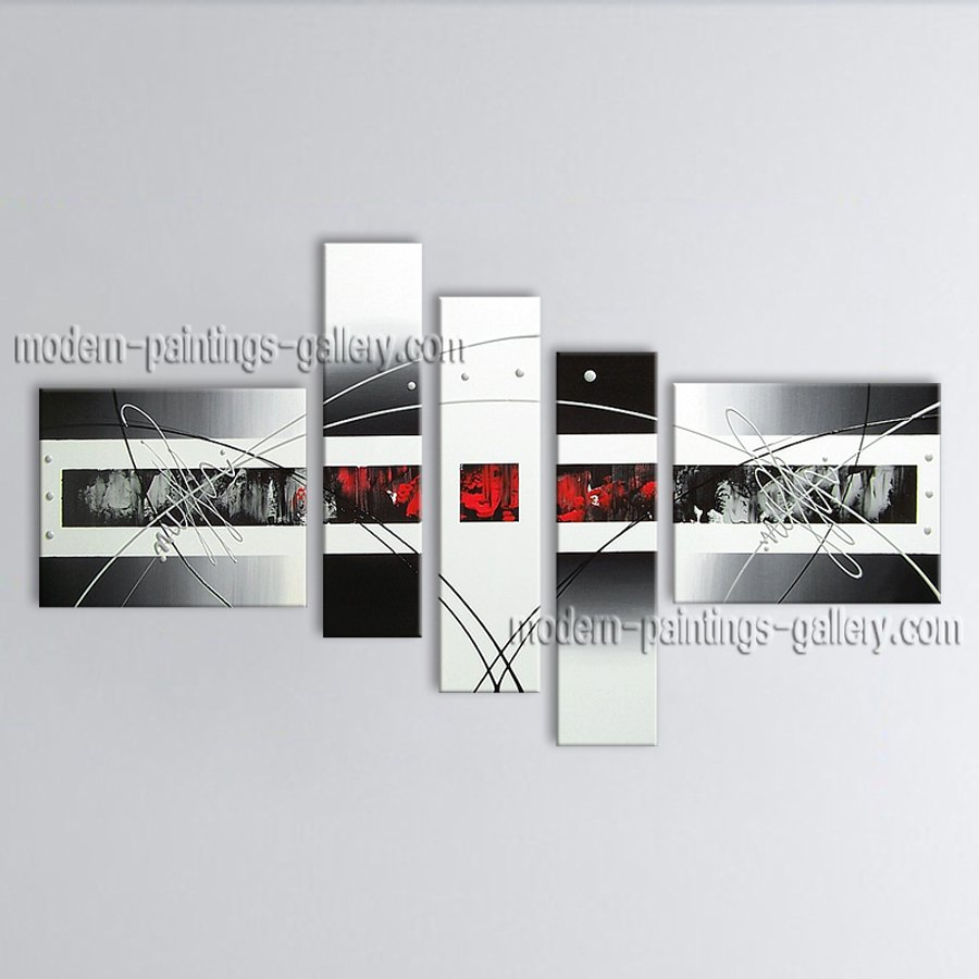 Hand Painted 5 Pieces Modern Abstract Painting Wall Art Contemporary Decor