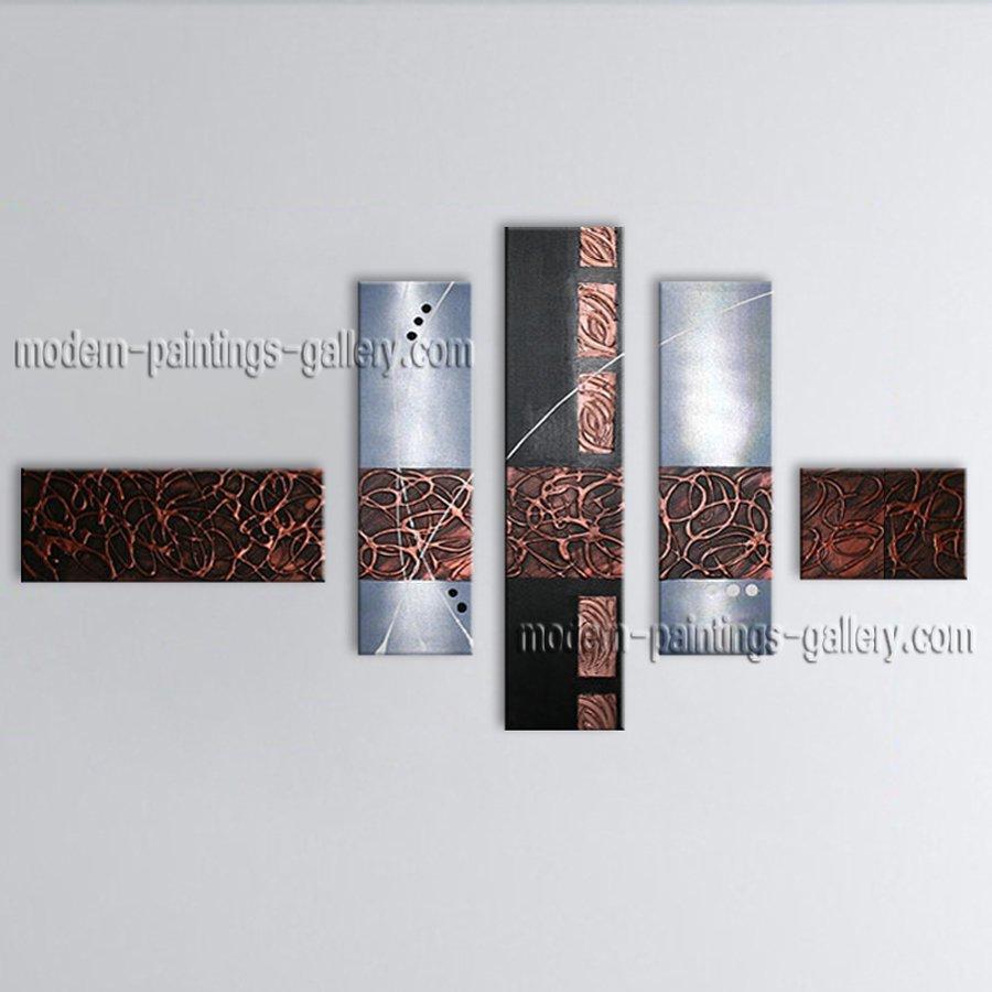 Handmade Artcrafts 5 Pieces Modern Abstract Painting Wall Art Inner Framed