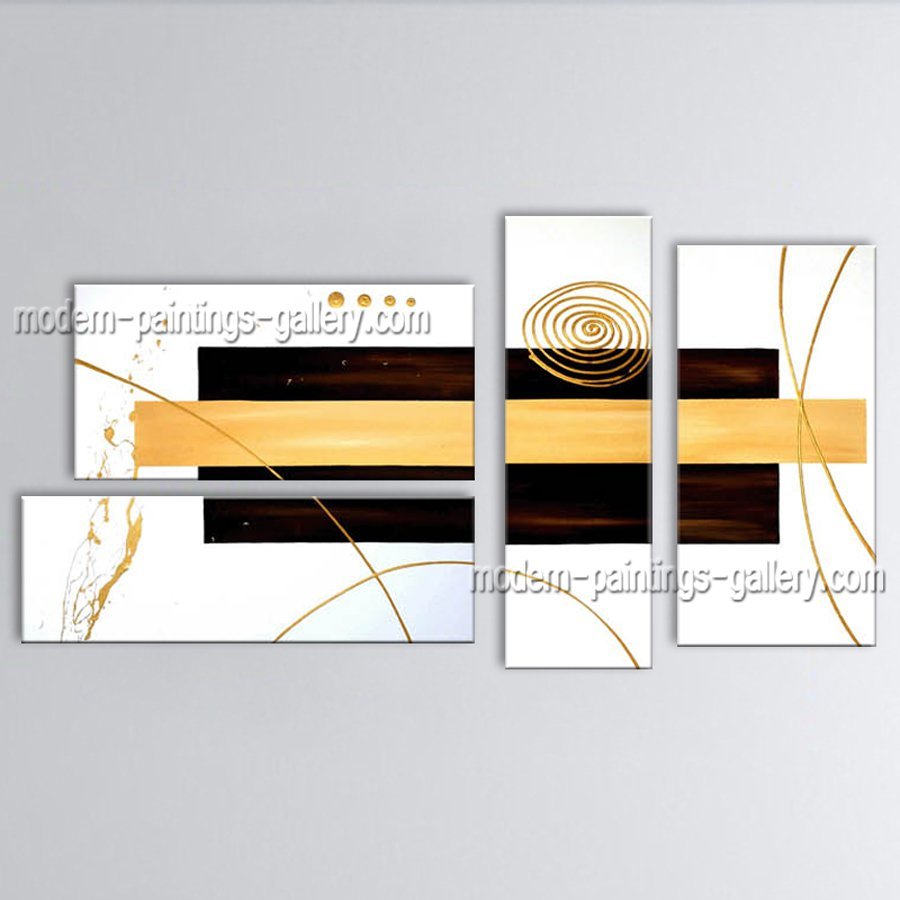 Hand Painted Tetraptych Modern Abstract Painting Wall Art Interior Design
