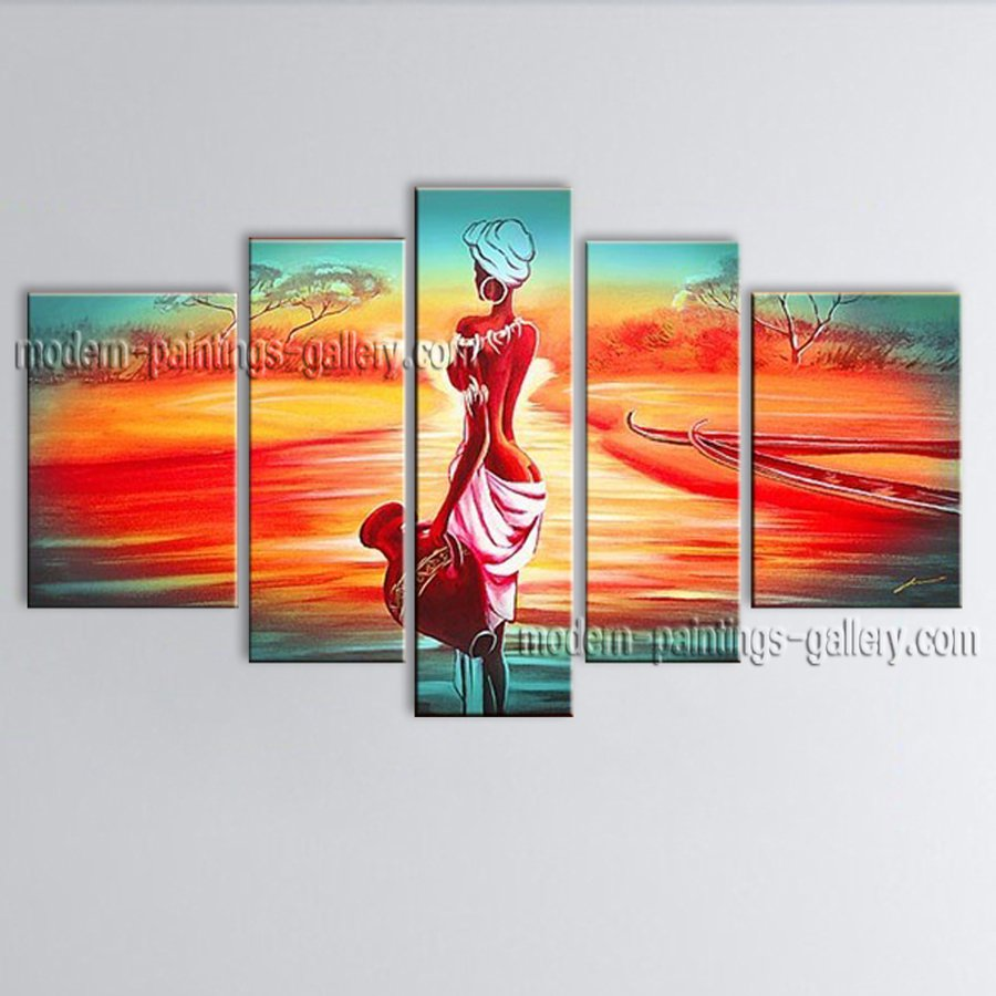 Handmade 5 Pieces Modern Abstract Painting Wall Art Figure Oil On Canvas