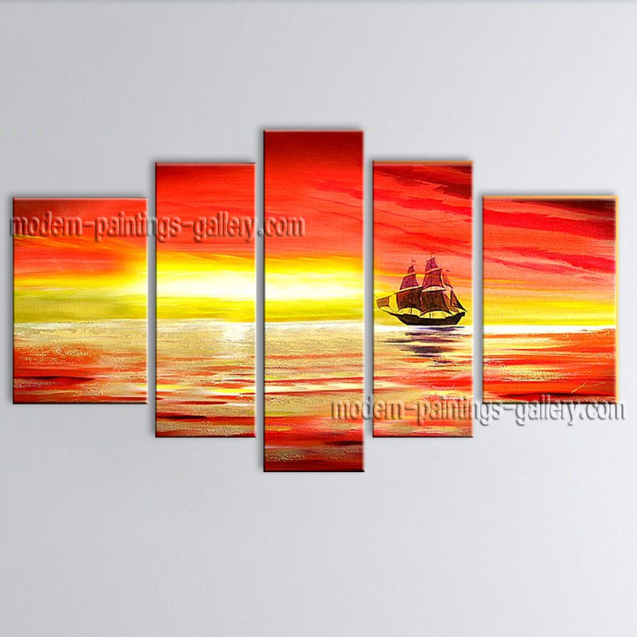 Handmade Pentaptych Modern Abstract Painting Wall Art Contemporary Decor