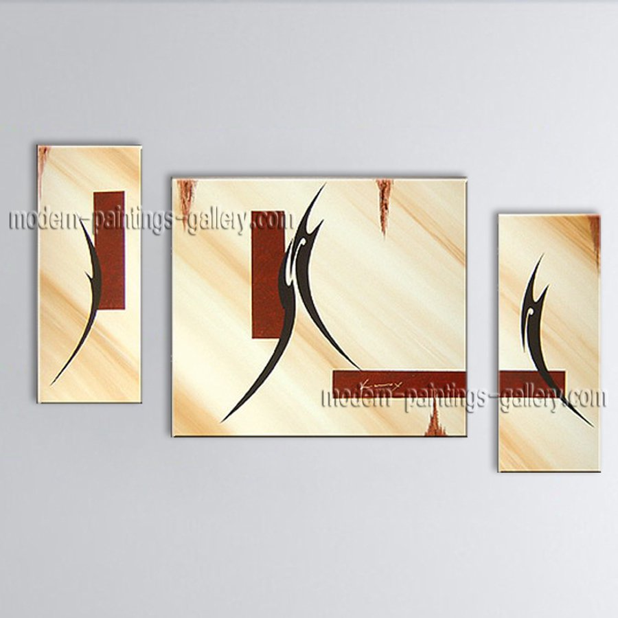 Hand-painted Triptych Modern Abstract Painting Wall Art Inner Framed