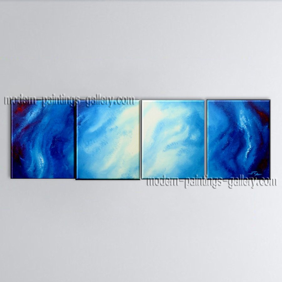 Hand Painted 4 Pieces Modern Abstract Painting Wall Art Decoration Ideas