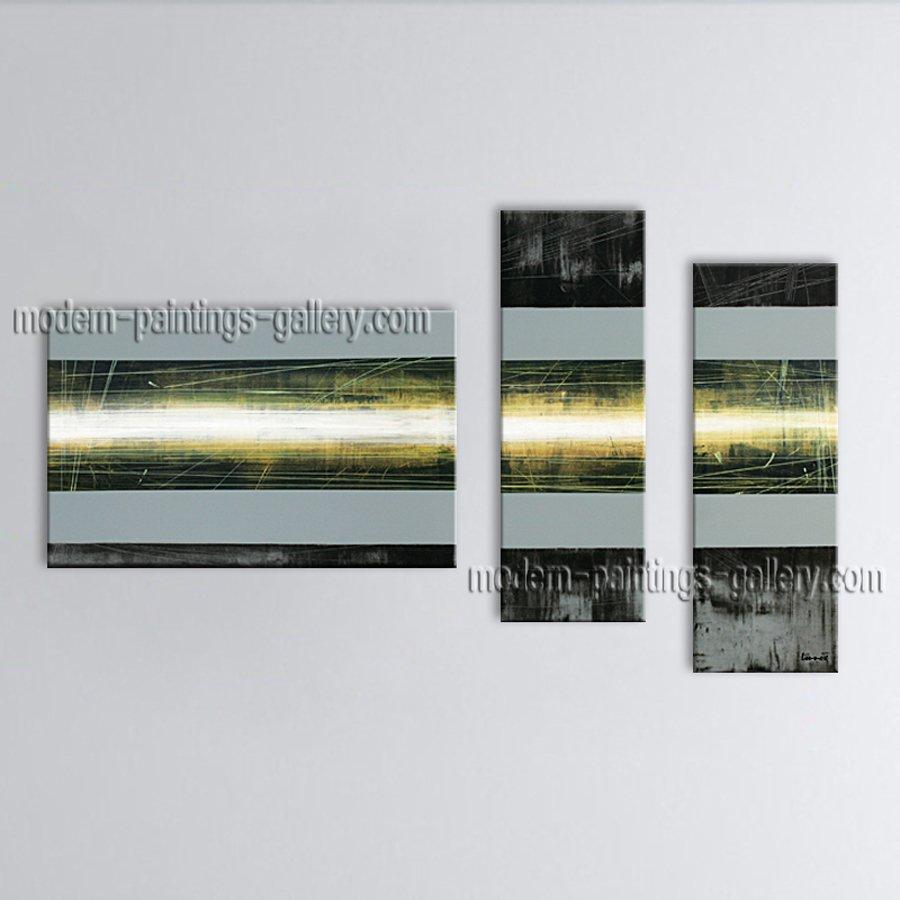 Handmade Artcrafts Triptych Modern Abstract Painting Wall Art Inner Framed