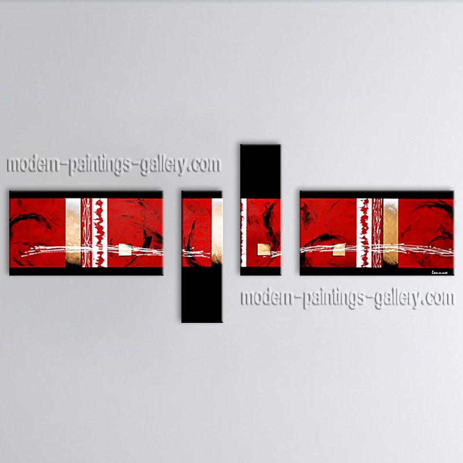 Hand Painted 4 Pieces Modern Abstract Painting Wall Art Oil On Canvas