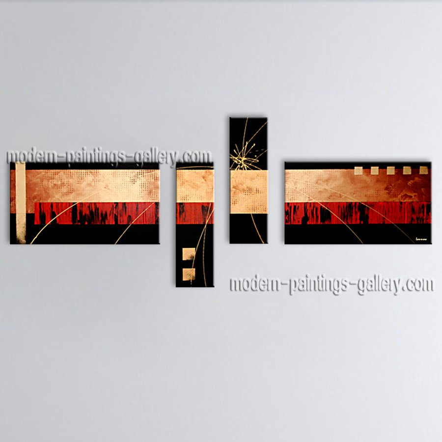 Hand Painted 4 Pieces Modern Abstract Painting Wall Art Inner Framed