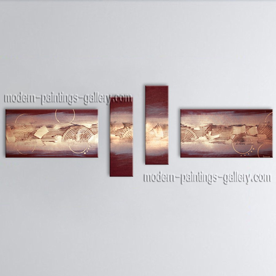 Hand-painted 4 Pieces Modern Abstract Painting Wall Art Decoration Ideas