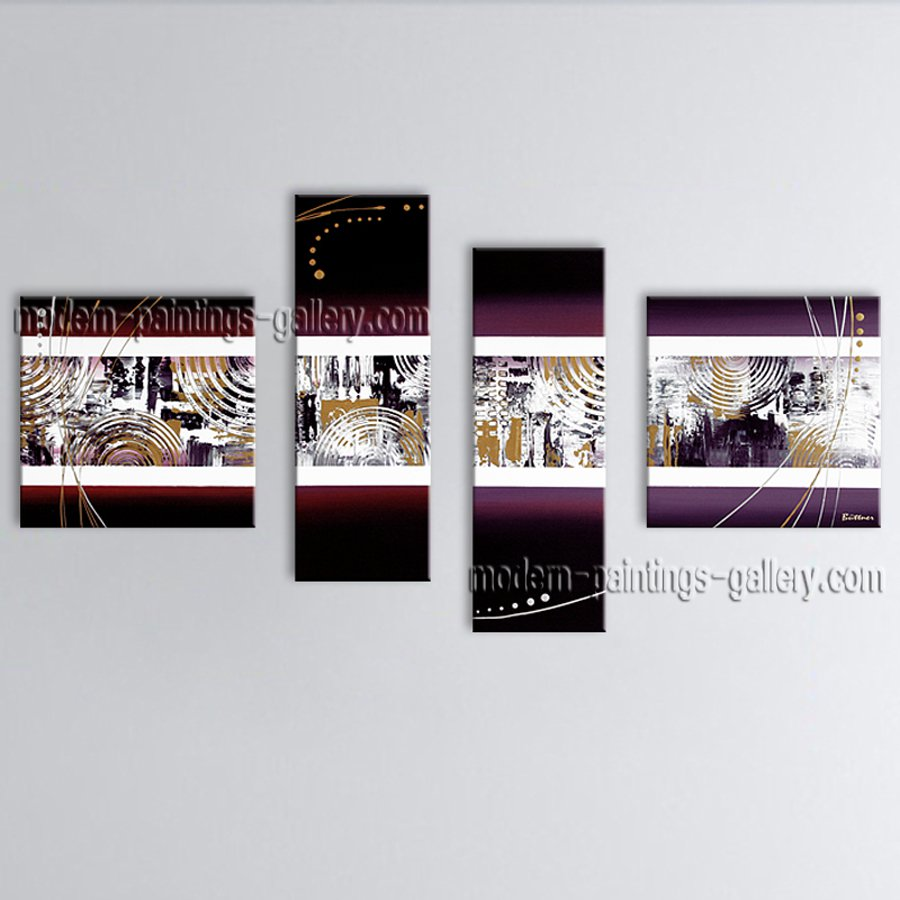 Hand-painted Tetraptych Modern Abstract Painting Wall Art Decoration Ideas