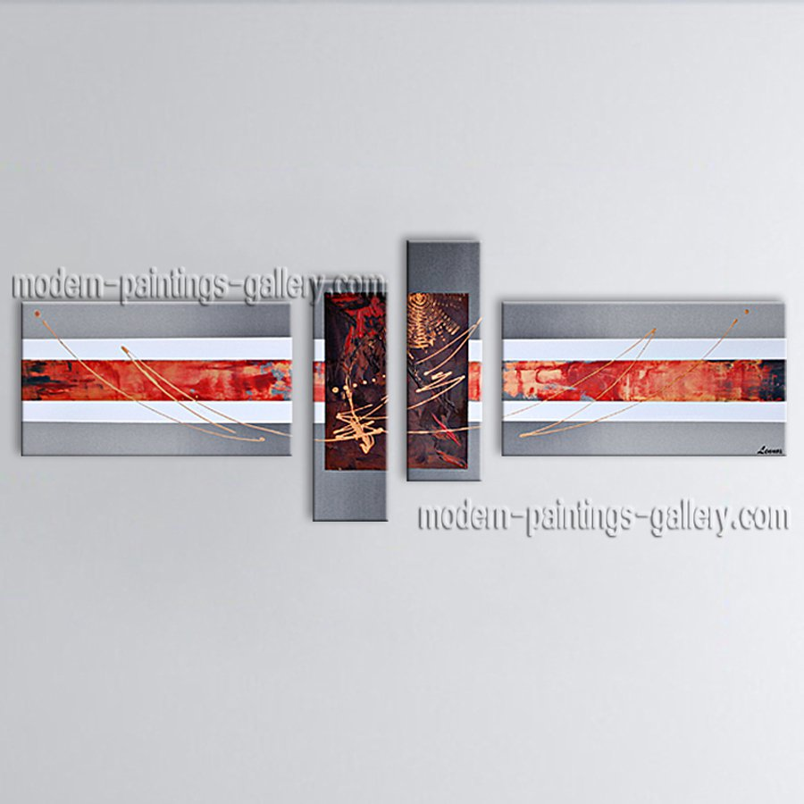 Hand-painted 4 Pieces Modern Abstract Painting Wall Art Inner Framed