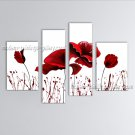 4 Pieces Contemporary Wall Art Floral Painting Poppy Flower Oil Canvas
