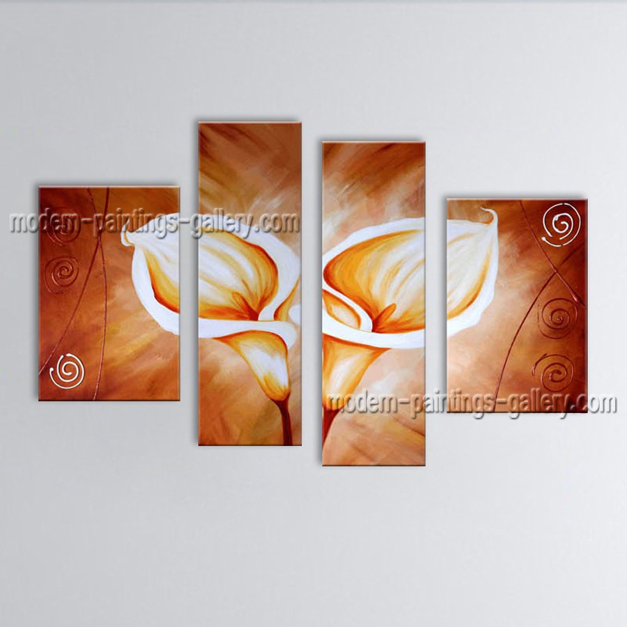 Tetraptych Contemporary Wall Art Floral Painting Lily Contemporary Decor