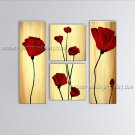 Tetraptych Contemporary Wall Art Floral Painting Poppy Decoration Ideas