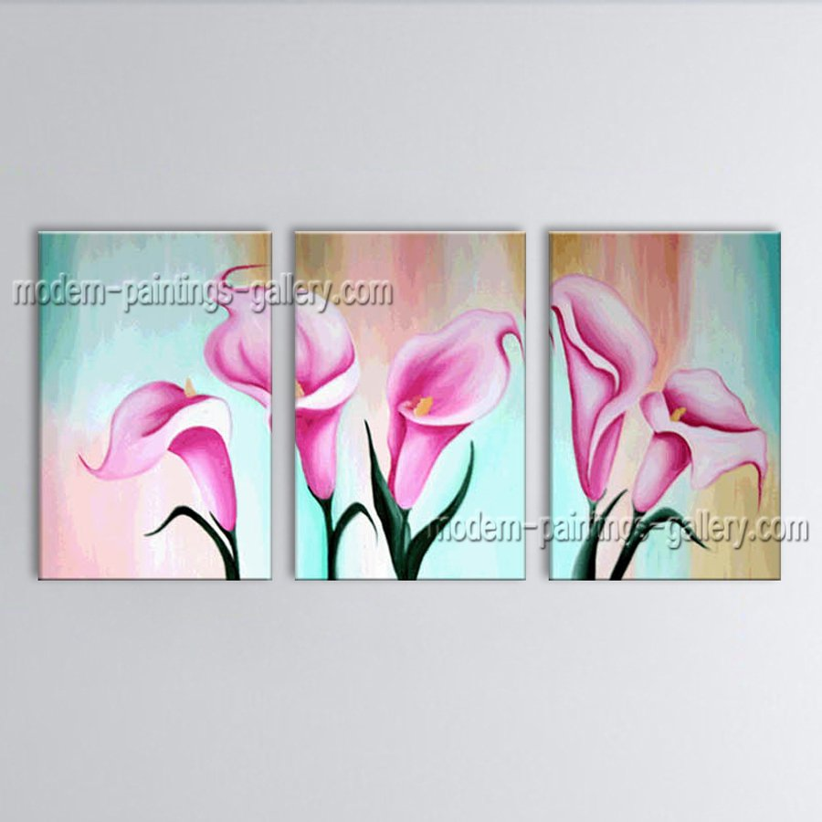 Elegant Contemporary Wall Art Floral Painting Lily Flowers Artwork
