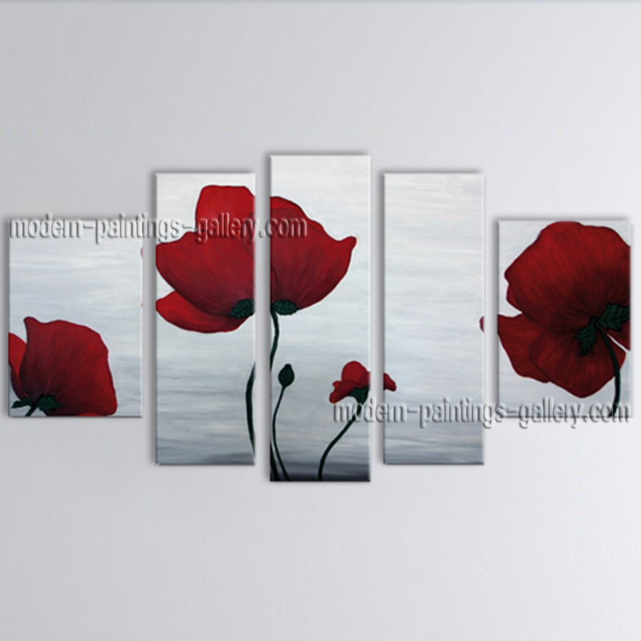 Pentaptych Contemporary Wall Art Floral Painting Poppy Contemporary Decor
