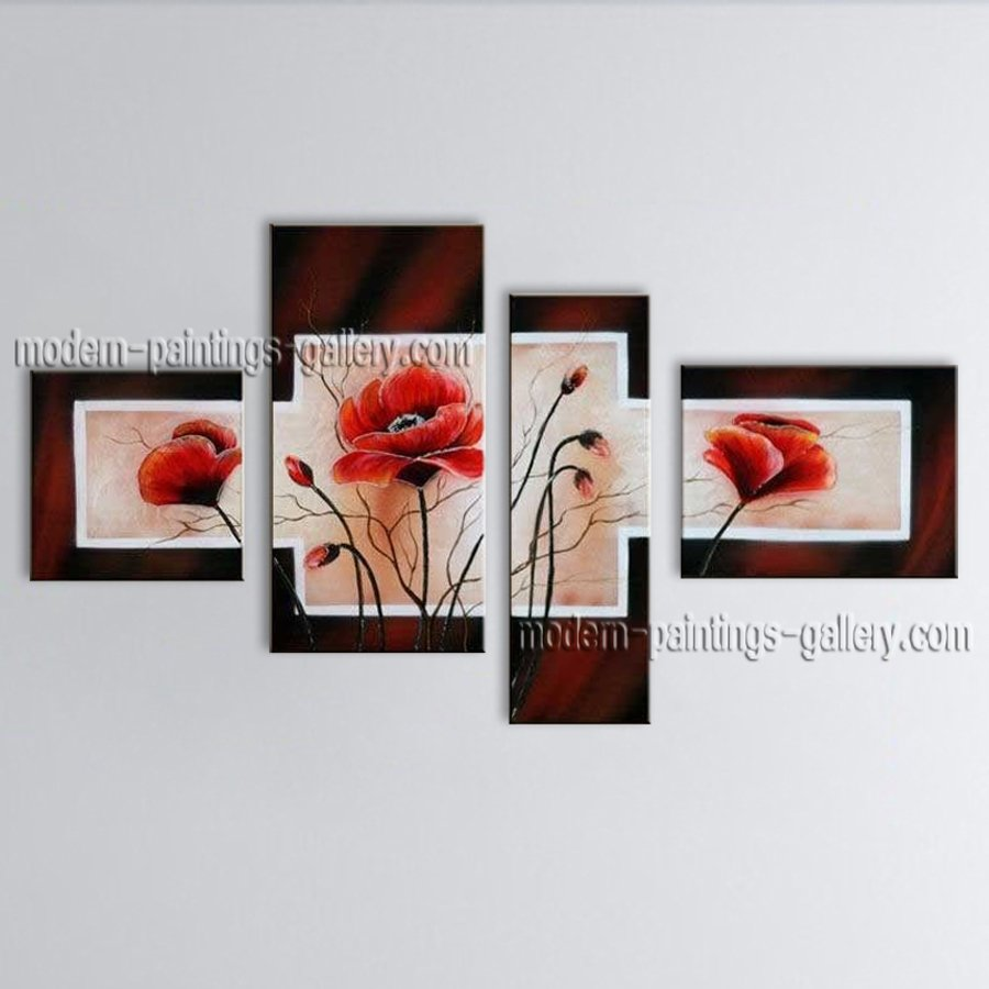 Large Contemporary Wall Art Floral Painting Poppy Flower Paintings