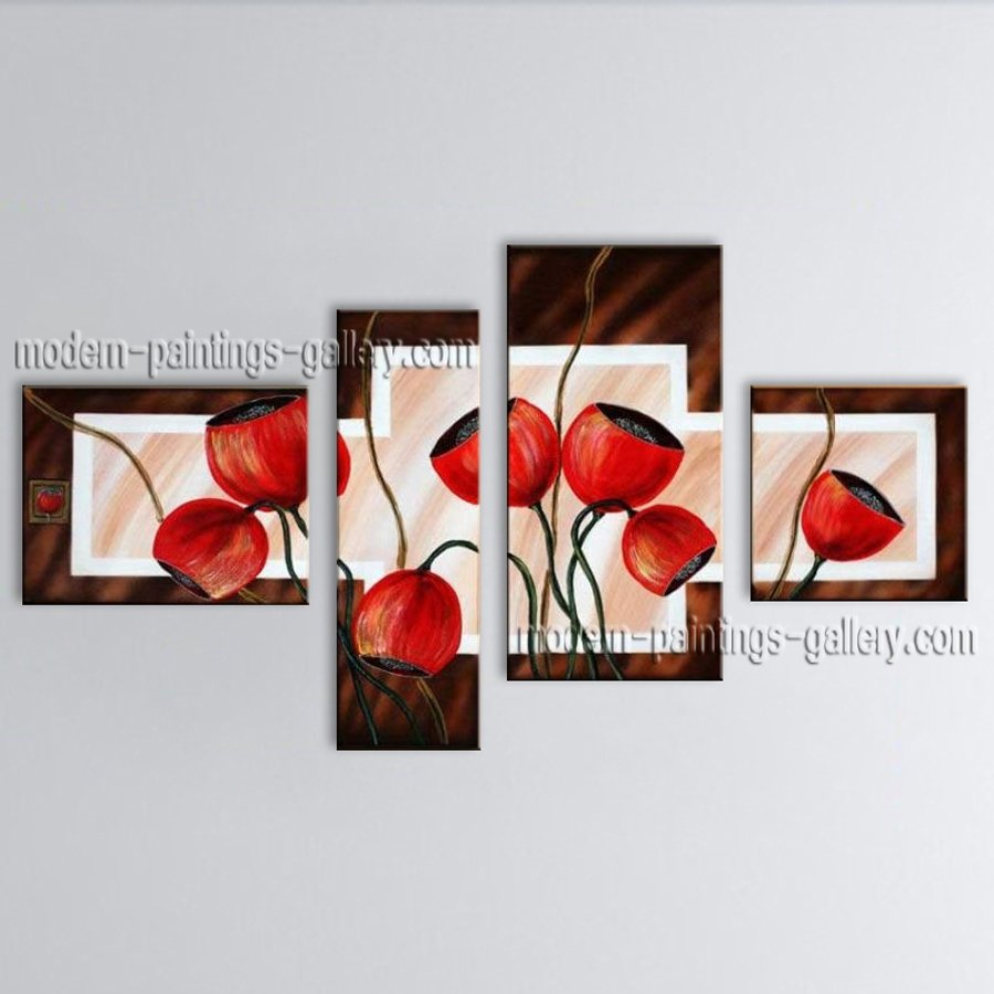 Large Contemporary Wall Art Floral Painting Tulip Contemporary Decor
