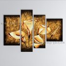 4 Pieces Contemporary Wall Art Floral Painting Lily Flower On Canvas