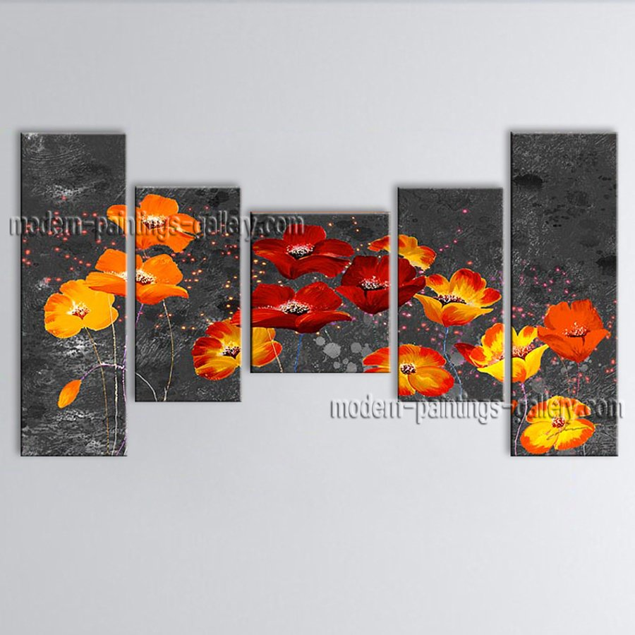 5 Pieces Contemporary Wall Art Floral Painting Poppy Flower On Canvas