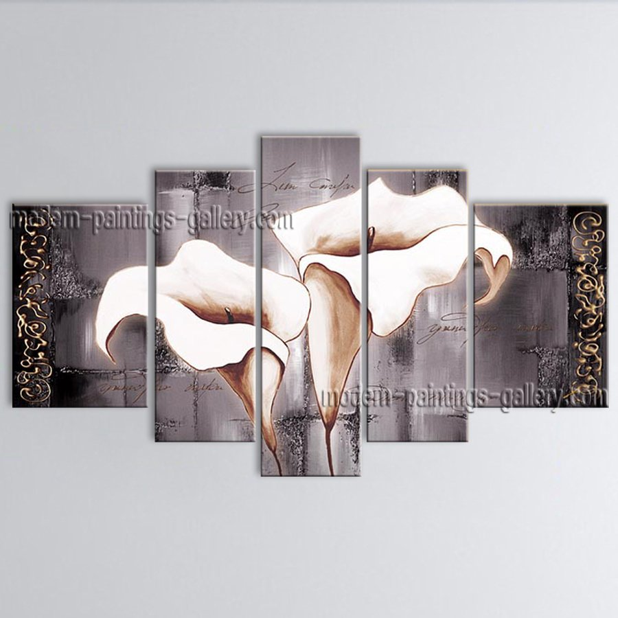 Large Contemporary Wall Art Floral Painting Lily Flower Oil Canvas