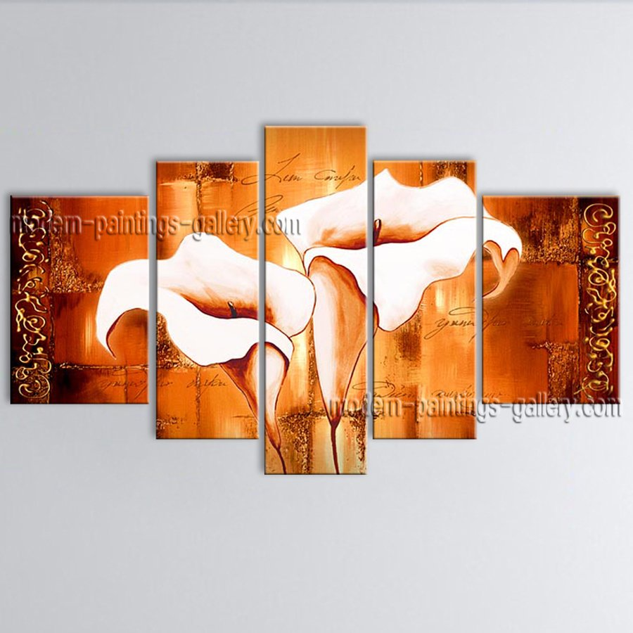 5 Pieces Contemporary Wall Art Floral Painting Lily Flower Inner Stretched
