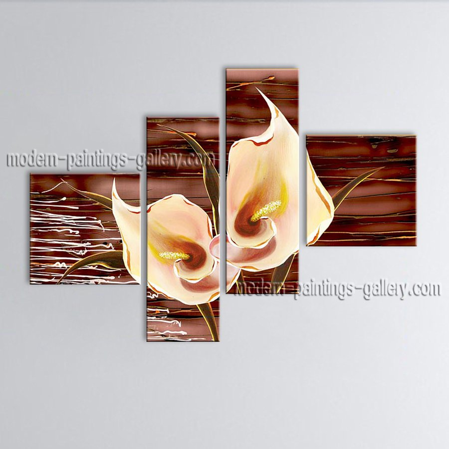 Tetraptych Contemporary Wall Art Floral Painting Lily Flower Artworks