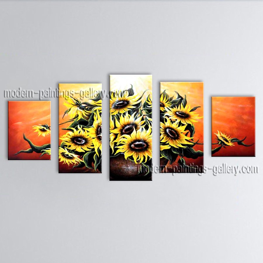 Pentaptych Contemporary Wall Art Floral Sunflowers Decoration Ideas