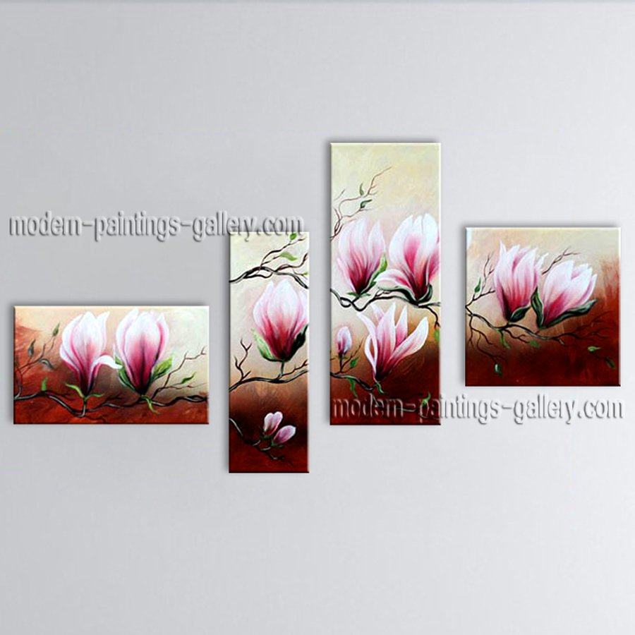 4 Pieces Contemporary Wall Art Floral Tulip Flower Inner Stretched
