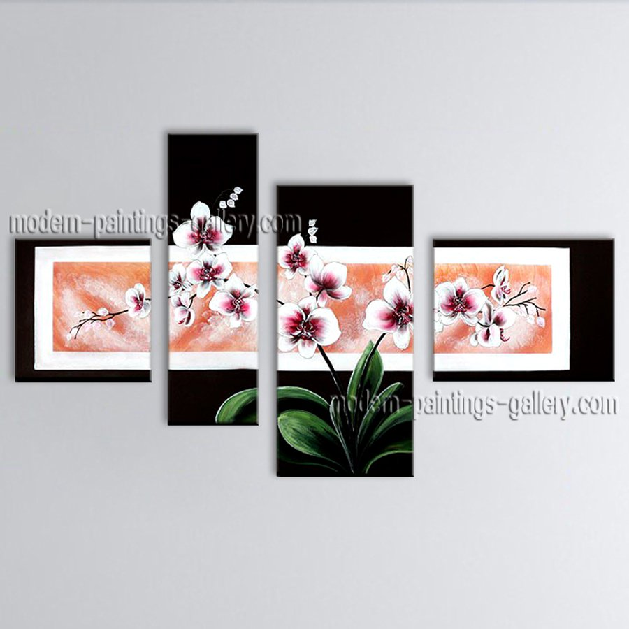 Large Contemporary Wall Art Floral Painting Orchid Flowers Artwork