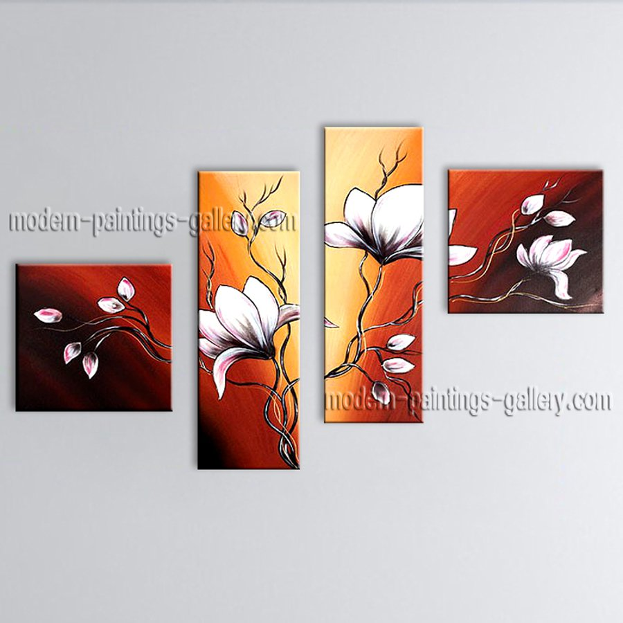 Handmade Large Contemporary Wall Art Floral Painting Tulip Flowers Artwork