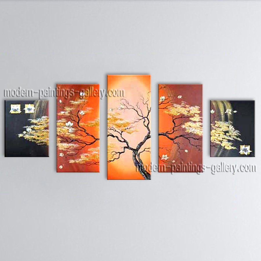 Pentaptych Contemporary Wall Art Floral Painting Tulip Contemporary Decor