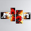 Tetraptych Contemporary Wall Art Floral Painting Tulip Flower On Canvas