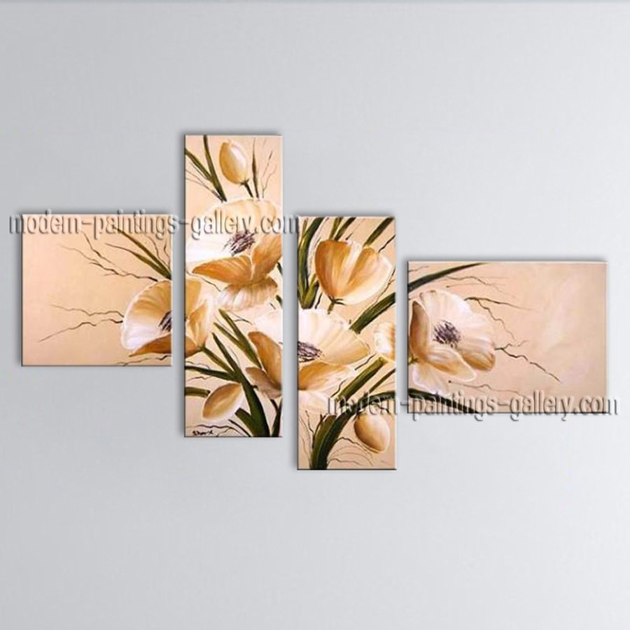 4 Pieces Contemporary Wall Art Floral Painting Tulip Flower On Canvas