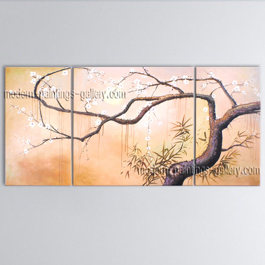 Triptych Contemporary Wall Art Floral Painting Plum Blossom Ready To Hang