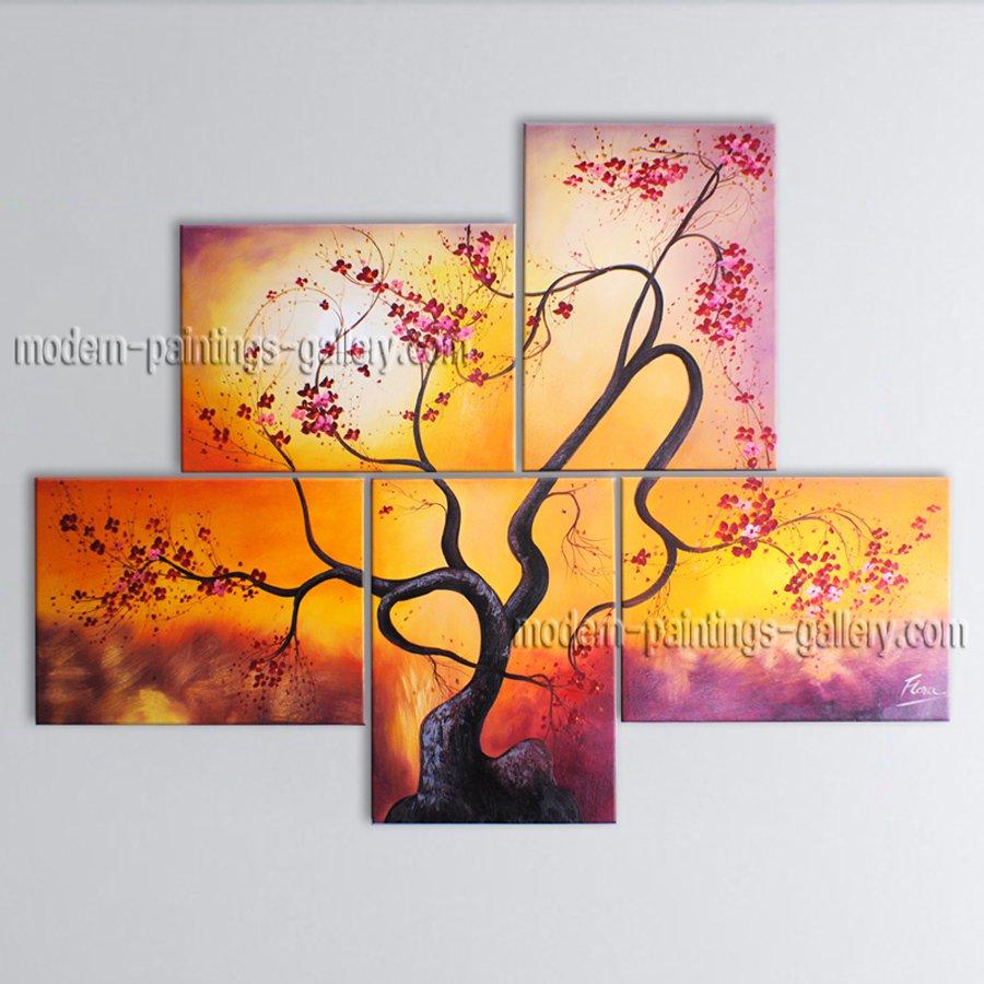 5 Pieces Contemporary Wall Art Floral Plum Blossom Contemporary Decor