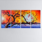4 Pieces Contemporary Wall Art Floral Painting Plum Blossom Inner Framed