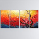 Tetraptych Contemporary Wall Art Floral Plum Blossom Contemporary Decor