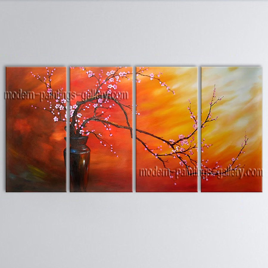 Tetraptych Contemporary Wall Art Floral Plum Blossom Gallery Wrapped