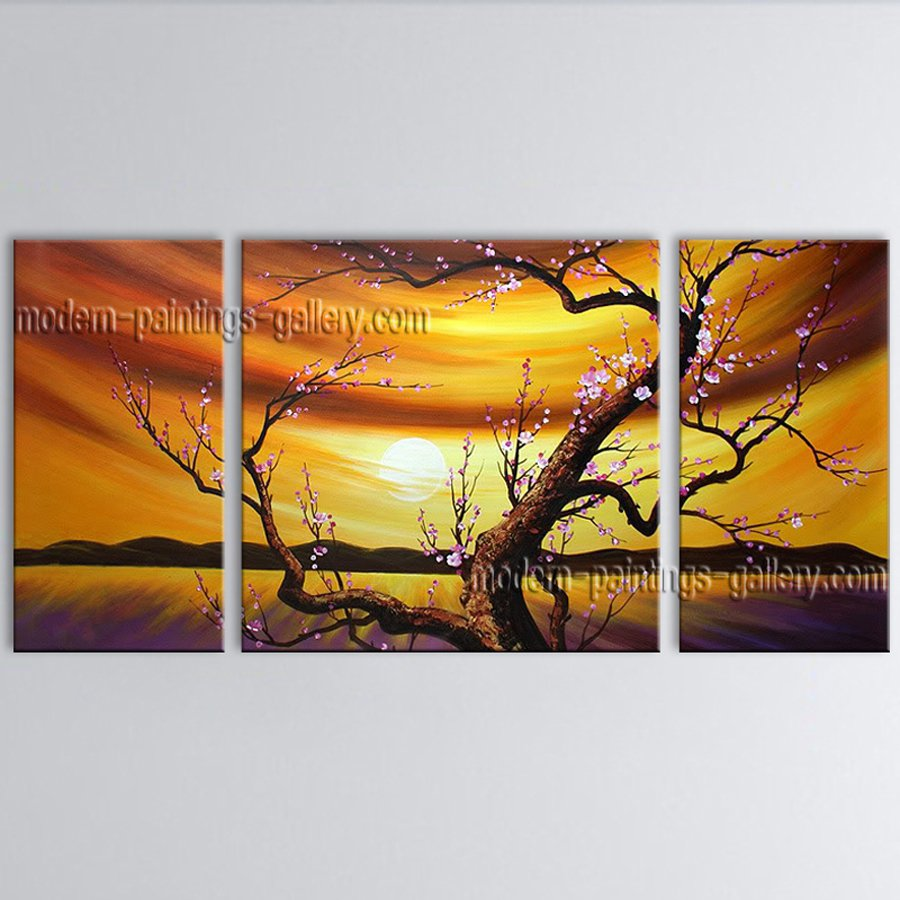 Stunning Contemporary Wall Art Floral Plum Blossom Gallery Wrapped
