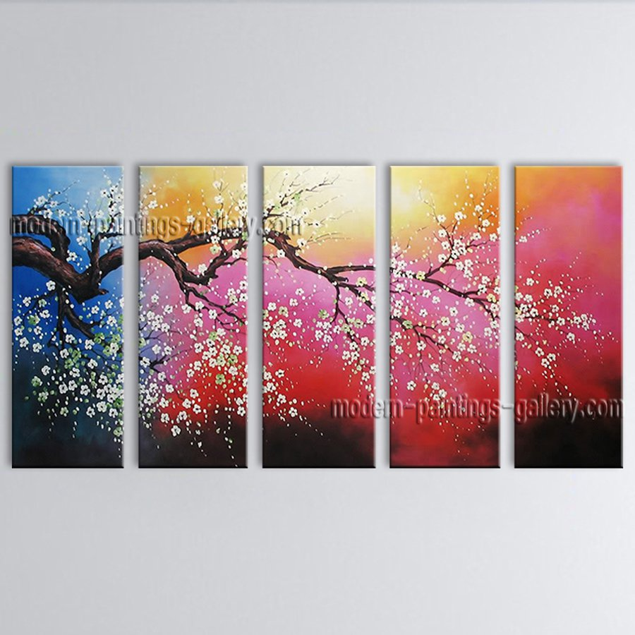 Large Contemporary Wall Art Floral Painting Cherry Blossom Oil On Canvas