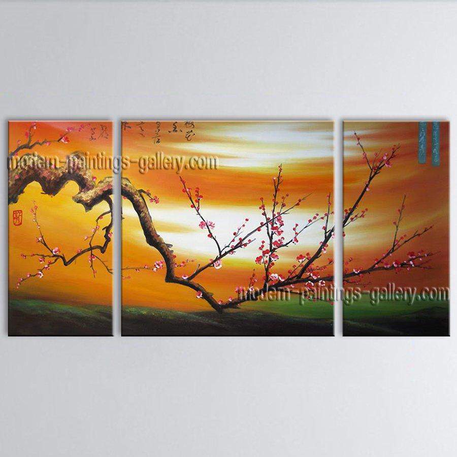 Beautiful Contemporary Wall Art Floral Plum Blossom Interior Design